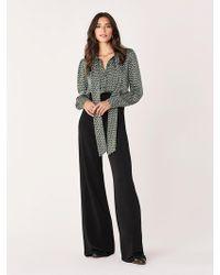Diane von Furstenberg Jilly Geo-print Tie-neck Jumpsuit - Black
