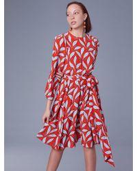 Diane von Furstenberg - Long-sleeve Waist Tie Draped Midi Dress - Lyst