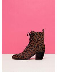 Diane von Furstenberg Dakota Leopard Lace-up Boots - Pink