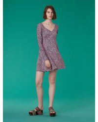 aae4cc34d97ba Diane von Furstenberg Long-sleeve Overlay Mesh Dress in Purple - Lyst
