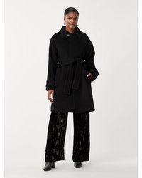 Diane von Furstenberg Lia Wool Belted Coat - Black