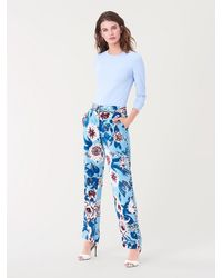 Diane von Furstenberg Ashley Silk-cady Straight Pants - Blue