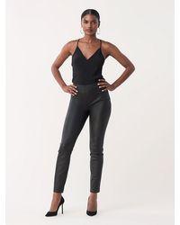 Diane von Furstenberg Claudia Stretch Leather Skinny Pants - Black