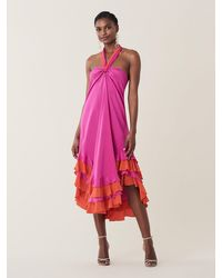 Diane von Furstenberg Sage Silk Crepe De Chine Halter Dress - Pink