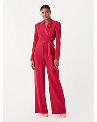 Diane von Furstenberg Monica Long-sleeve Crepe Wrap Jumpsuit - Red
