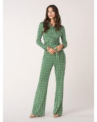 Diane von Furstenberg Michele Wrap-effect Printed Silk-jersey Jumpsuit - Multicolour