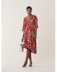 Diane von Furstenberg Eloise Silk High-low Midi Dress - Red