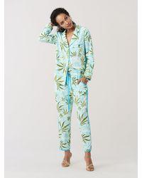 Diane von Furstenberg Halsey Crepe De Chine Pyjama Top - Blue