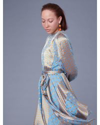 Diane von Furstenberg - Long-sleeve Waist Tie Draped Satin Midi Dress - Lyst