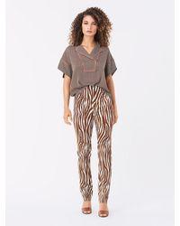 Diane von Furstenberg Dakota Silk-cady Cigarette Pants - Multicolour