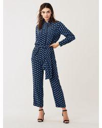 Diane von Furstenberg Leone Belted Silk Crepe De Chine Jumpsuit - Blue