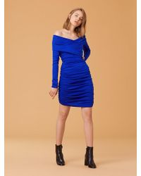 Diane von Furstenberg - Off Shoulder Ruched Mini Dress - Lyst