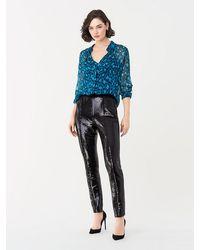 Diane von Furstenberg Jackie Sequin Skinny Pants - Black