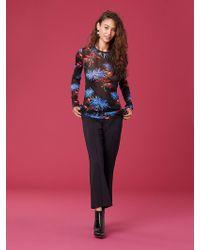 Diane von Furstenberg - Long-sleeve Fitted Mesh T-shirt - Lyst