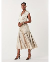 Diane von Furstenberg Nur Soft Satin Midi Dress - Natural