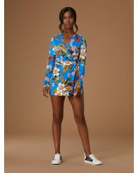 2a012242b0a Diane von Furstenberg - Celeste Long-sleeve Silk Jersey Banded Romper - Lyst