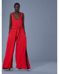 Diane von Furstenberg Wide Leg Belted Jumpsuit - Red