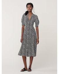 52f69e00b22 Diane von Furstenberg Flutter Sleeve Cinched Waist Midi Dress in Black -  Lyst