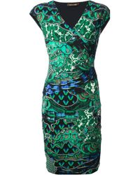 Roberto Cavalli Wrap Style Fitted Dress - Lyst