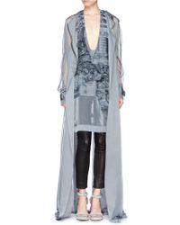 Haider Ackermann Ruffle Floral Silk Organza Chiffon Top gray - Lyst