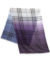 Burberry Multi-Ombrè Wool & Silk Scarf blue - Lyst