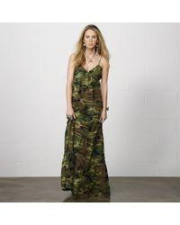 Denim & Supply Ralph Lauren Ruched Camo Cotton Maxi Dress - Lyst