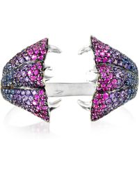 Bernard Delettrez - Carnivorous Flower W/sapphires And Amethysts Gold Pave Ring - Lyst