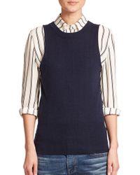 FRAME Wool & Cashmere Sleeveless Sweater - Blue