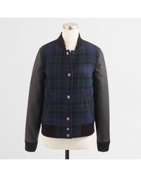 J.Crew Factory Black Watch Varsity Bomber Jacket - Lyst
