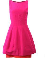 Oscar de la Renta Bateau Neck Stitch Dress - Lyst