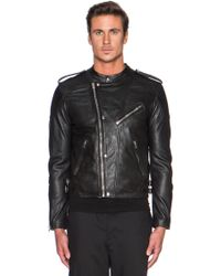 The Kooples Washed Lamb Leather Motorcycle Jacket - Lyst
