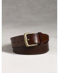 John Varvatos Edge Stitched Leather Belt - Lyst