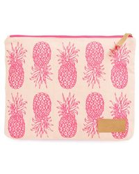 Alola Pineapple Print Canvas Clutch - Pink