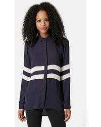 Topshop Dual Stripe Long Sleeve High/Low Shirt - Lyst