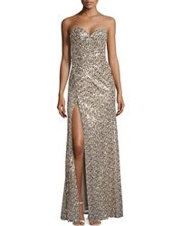 La Femme Sequined Strapless Gown - Lyst