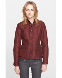 Burberry Brit 'Tiggsmoore' Quilted Stand Collar Jacket brown - Lyst