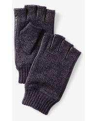 Express Leather Trim Marled Fingerless Gloves - Black