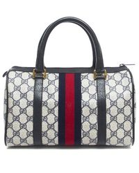 Gucci Pre-owned Vintage Navy Canvas Web Boston Bag - Lyst