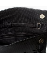 Zara Leather Clutch With Diamantes - Lyst