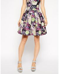 Asos Co-Ord Premium Full Bonded Skirt In Floral Print - Lyst