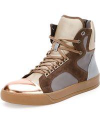 Lanvin Mixed-media High-top Sneaker - Lyst
