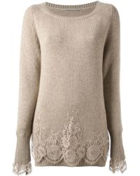 Ermanno Scervino Lace Detail Sweater - Lyst