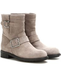 Jimmy Choo Youth Embossed Suede Biker Boots gray - Lyst