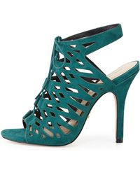 Pour La Victoire Laser-cut Suede Leather Sandal - Lyst