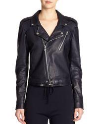 Theory Sahral Leather Moto Jacket - Lyst