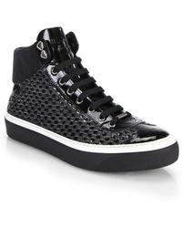Jimmy Choo Woven High-Top Sneakers - Lyst