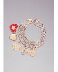 Bebe | Logo Charm Heart Bracelet | Lyst