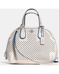 Coach Prince Street Satchel In Perforated Leather - Lyst