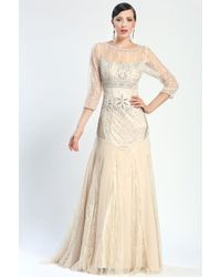 Sue Wong 3/4 Sleeve Embroidered Gown - Lyst
