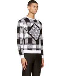 Versace Black And White Geometric Print Studded Sweater - Lyst
